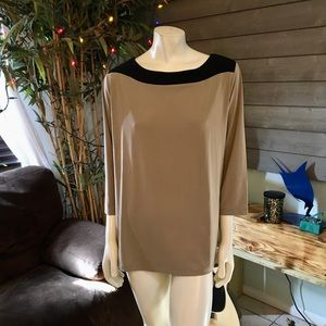 Susan Graver Black & Tan Boat Neck Tunic Top XL